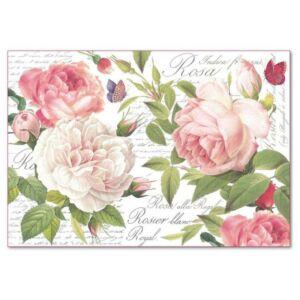 Dekupázs rizspapír 48 x 33 cm - Vintage rózsa