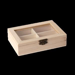 Fa doboz 4rekeszes átlátszó tetővel,14*10*3,5cm