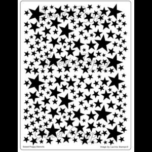Fém stencil 14,5 x 19,5 cm, Csillagos háttér