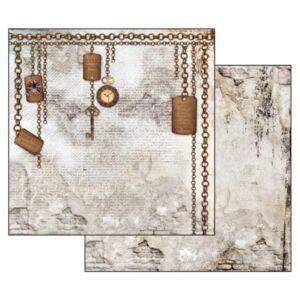 Kétoldalas papír 31,5x30 cm Órák lánccal