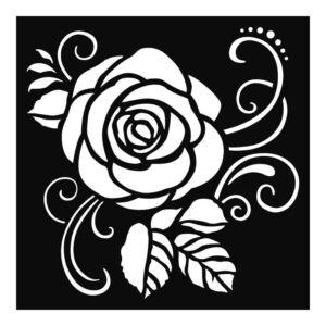 Stencil TD méret 18x18 cm/ 0,5 mm - Rózsa