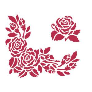 Stencil D méret 20x15 cm - rózsás