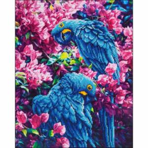 Kék papagájok 52*42cm ,részben kirakható