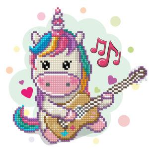 Unikornis gitárral (Music fills my heart) 23x23cm