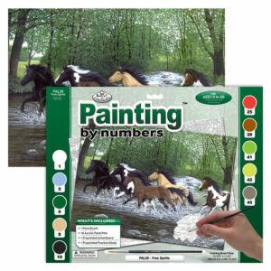Számozott kifestő - Patakban vágtázó lovak