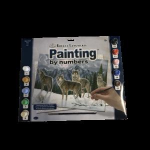 Számozott kifestő - Farkasok a hóban