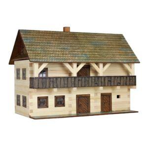 Fa építős játék - Emeletes erkélyes főépület