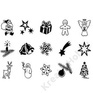 Karácsonyi bélyegző készlet 15db-os