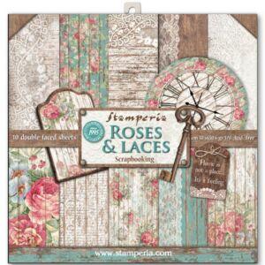 Kétoldalas papír, 30*30cm 10db/cs,Rózsák,csipkék