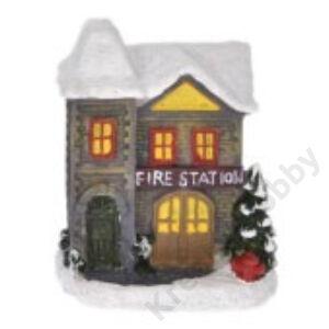 Téli házikó ,ledes 8x6x4,5 cm FIRE STATION