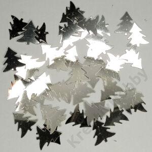 Konfetti,ezüst,Fenyő 40g. Kb.200db/cs