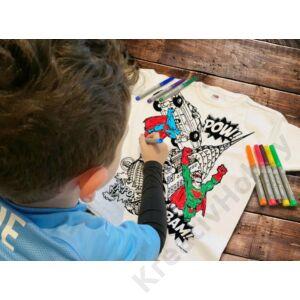 Színezhető pólók -Szuperhős, korosztály 7-8