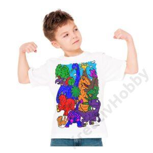 Színezhető pólók -Dinoszaurusz, korosztály 3-4