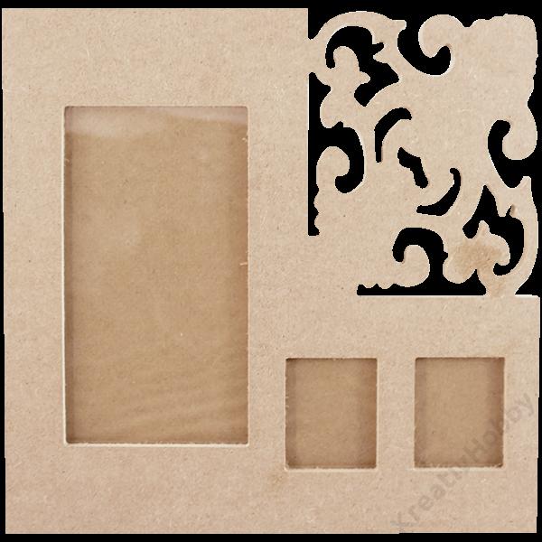 Képkeret, MDF 24 x 24 cm, faragással