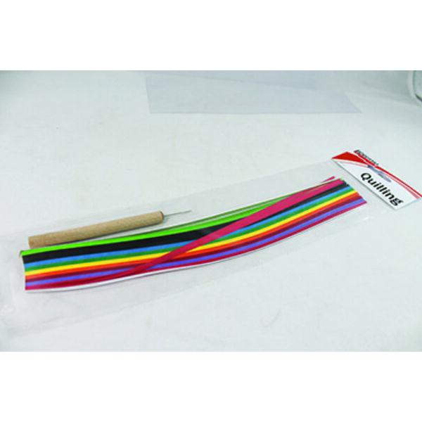 QUILLING kezdő készlet - 30 cm x 3 mm - 300 db - Élénk színek és 1db Quilling tű