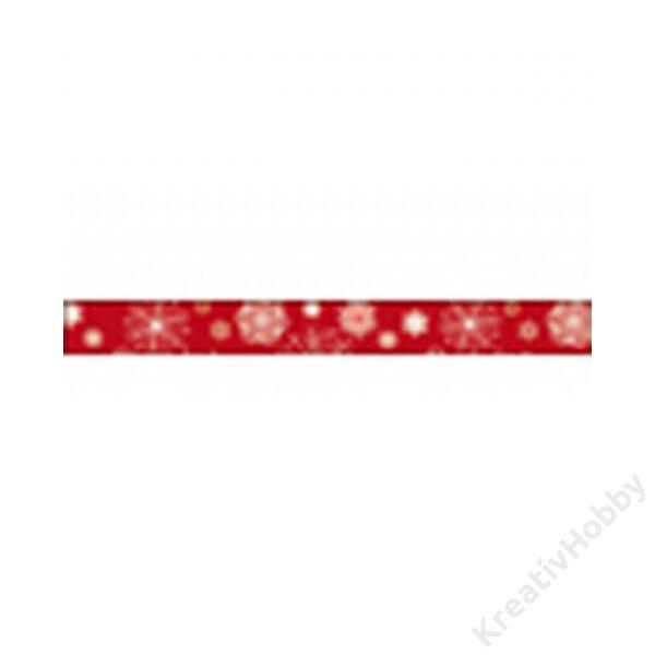 Dekorszalag, 1,5 cm x 10 m - Snow flakes on red backboard