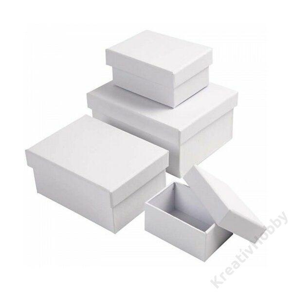 Doboz szett, téglatest - fehér 4db/cs