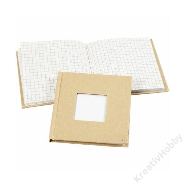 Jegyzetfüzet ablakos fedéllel, 10x10cm, 80lap, fehér, kockás