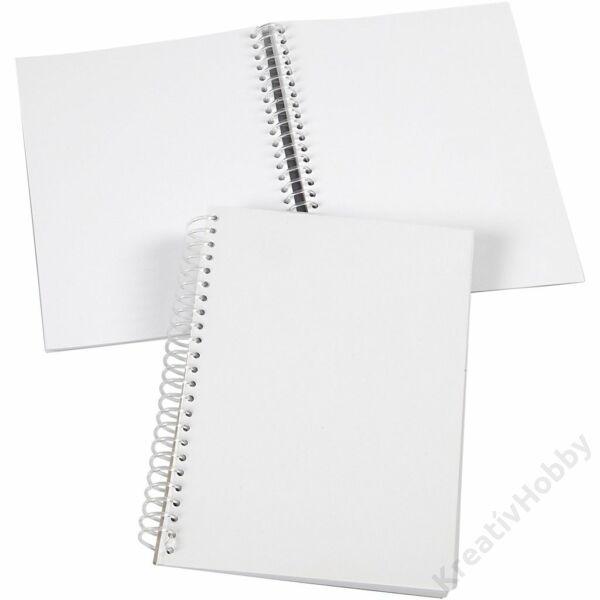 Notesz spirálos, átlátszó borítóval, fehér lapos, 80 oldalas, 15*21 cm