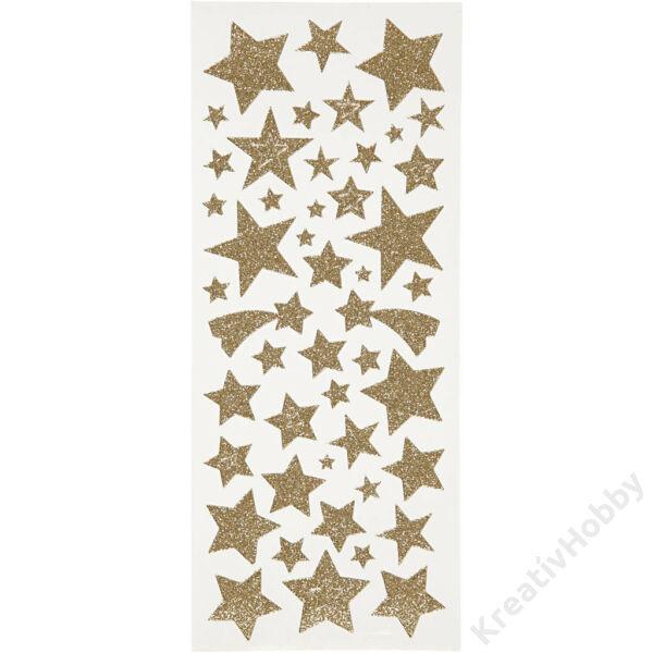 Matrica glitteres 110db, csillagok arany