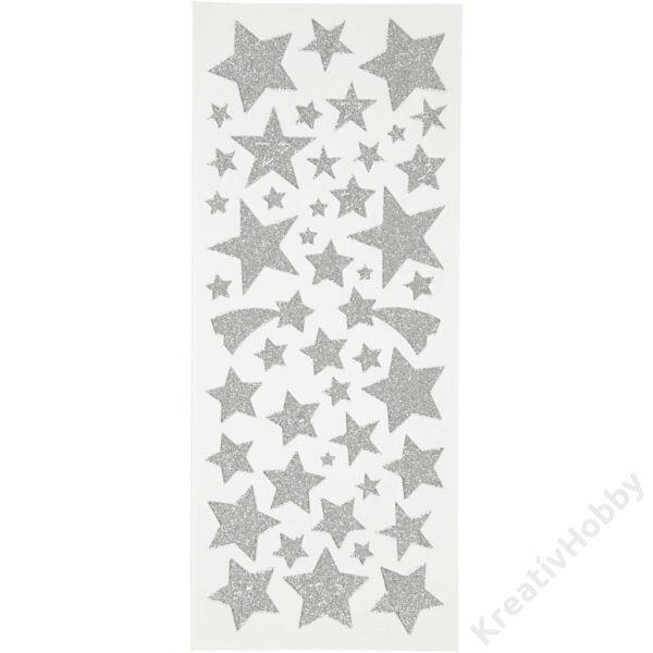 Matrica glitteres 110db, csillagok ezüst