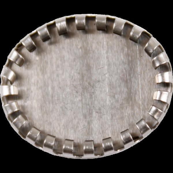 Fém díszítőelem, ovális foglalat 2,1 x 1,6 cm,