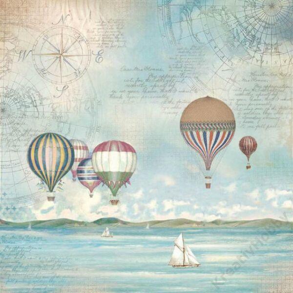 Rizspapír szalvéta, 50 x 50 cm csom.- Vízi világ léghajókkal