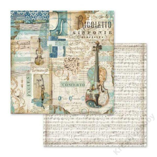 Kétoldalas papír 31,5 x 30 cm Rigoletto hegedűvel
