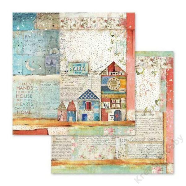 Kétoldalas papír 31,5 x 30 cm Patchwork kis házak