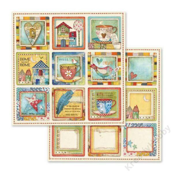 Kétoldalas papír 31,5 x 30 cm Patchwork kártyák