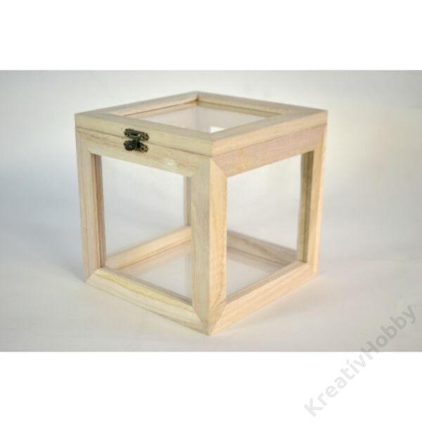Fa kocka üveg vitrin, 15*15*15cm