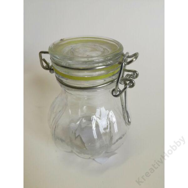 Üveg, patentzáras 1dl íves, bordás