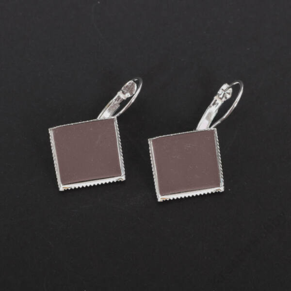 Négyzet fülbevaló alap, 15mm ezüst 2db/cs