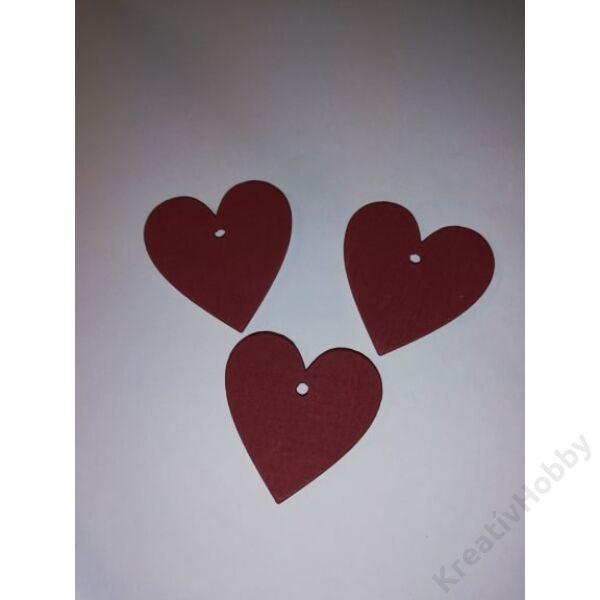 Fa szív 4x4cm piros 3db/cs