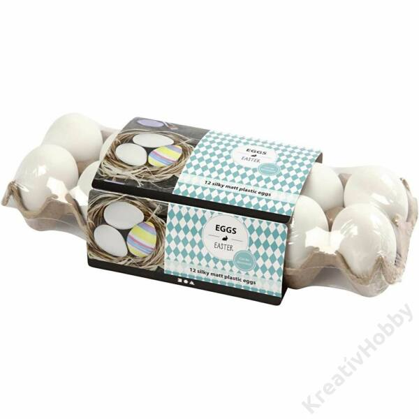Műanyag tojás,tartóban 12db/cs