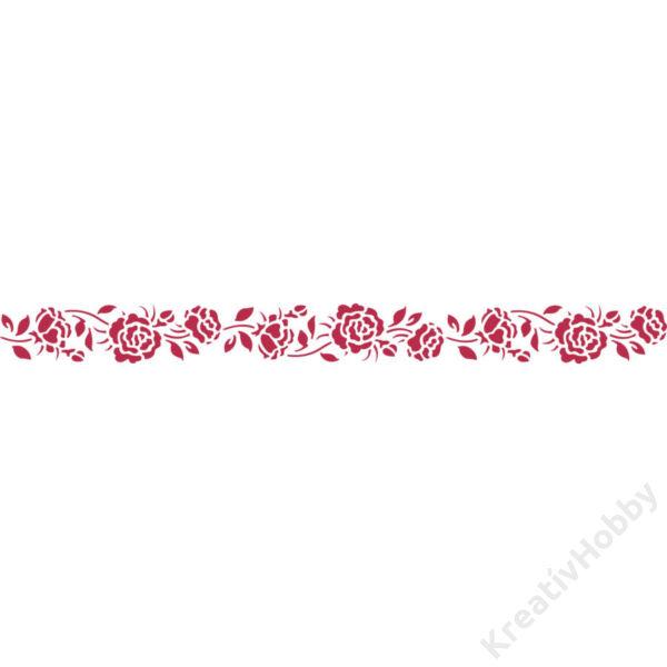 Stencil E méret 60x7 cm - rózsák