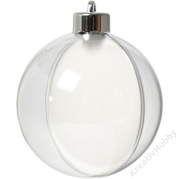 Műanyag gömb 8cm,akasztóval 5db/cs