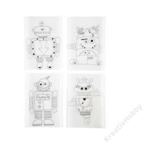 Előrajzolt Zsugorka lapok, 4db/cs, 10,5x14,5cm - Robotok