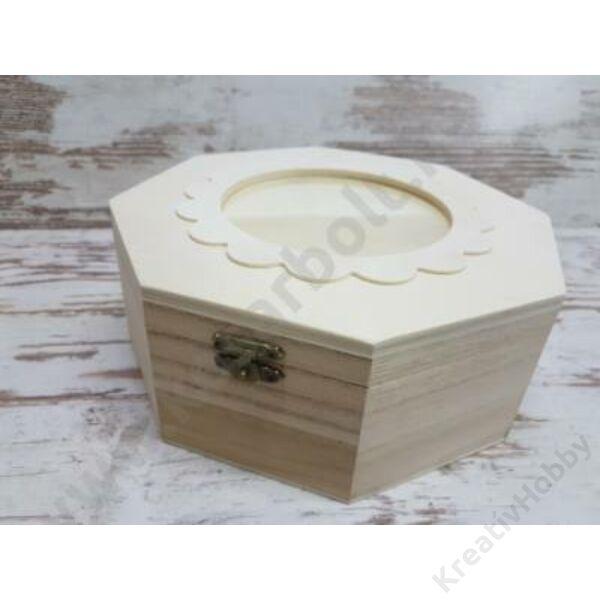 Natúr fa fényképtartós doboz nyolcszögletű,20*20cm,magasság8cm