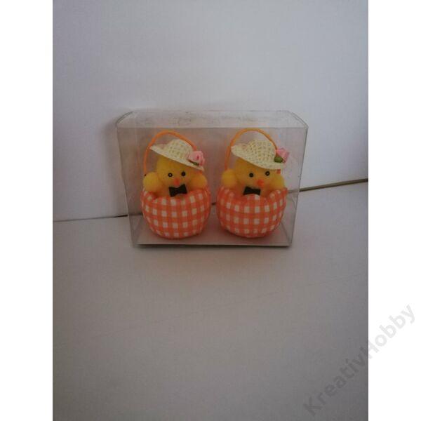 Húsvéti figurák kosárban,csibék kalapban 6cm 2db/cs
