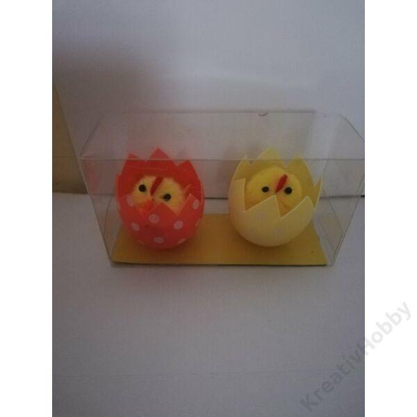 Csibe tojásban 4cm 2db/cs (narancs-sárga)