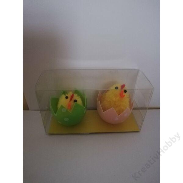 Csibe tojásban,4cm 2db/cs( rózsaszín-zöld)