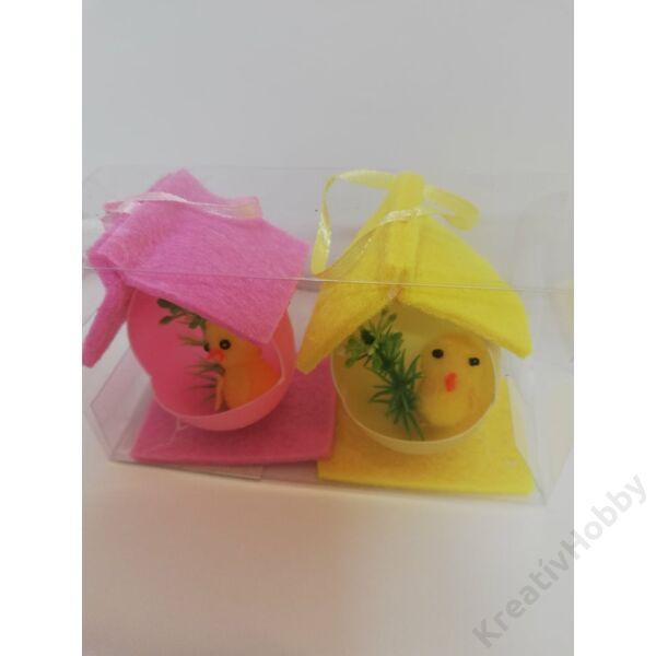 Csibék házikóban( rózsaszín,sárga)6,5cm