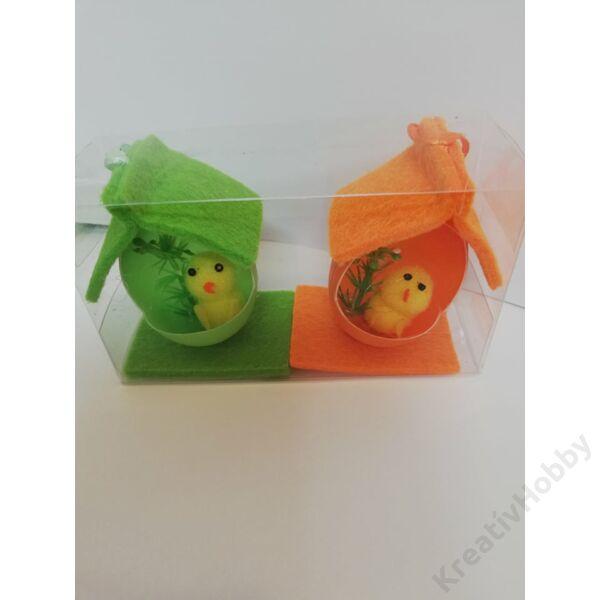 Csibe házikóban (narancs,zöld) 6,5cm 2db/cs