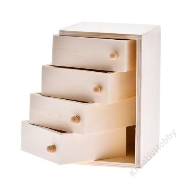 Fa szekrény fiókkal 12*12*20cm