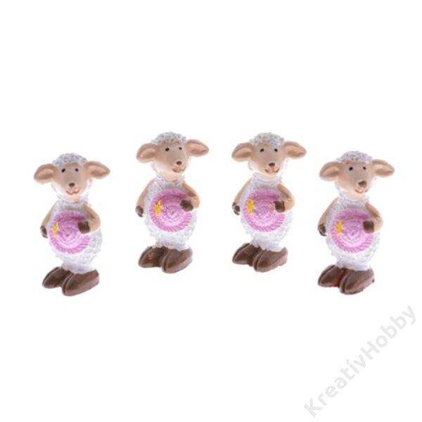 Bárány poly rózsaszín-fehér3cm 4db/cs