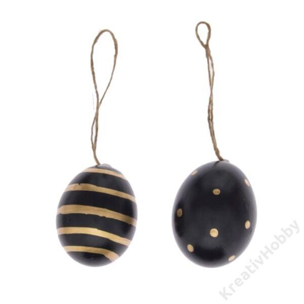 Fekete tojás akasztós,arany csikos-pöttyös 6db/cs 6cm