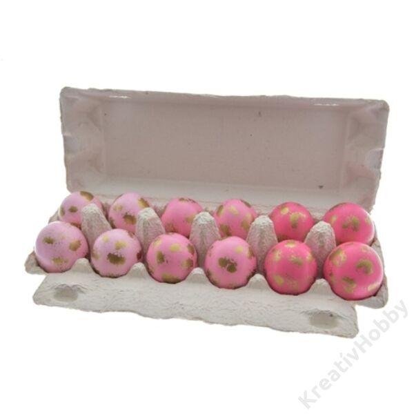 Tojás dobozban 3szín,rózsaszín 12db/cs
