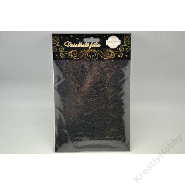 Vasalható fólia,glitteres,fekete 15*20cm 2db/cs