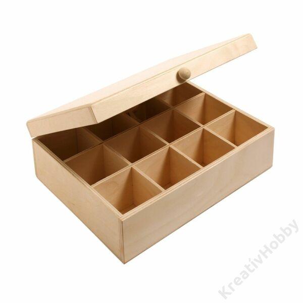 Teafiltertartó doboz, 12 rekeszes